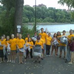 "Grace Youth pick up trash by the Mississippi (two blocks away!) on a ""God's work. Our hands."" Sunday."